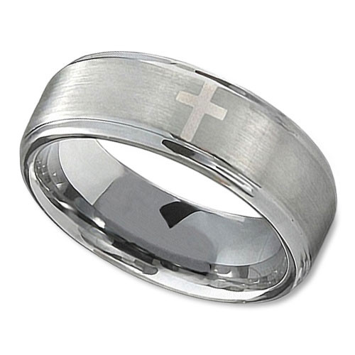 men 39 s tungsten wedding band in 8mm with polished cross