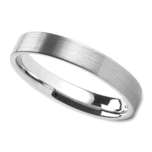 Womens Modern Wedding Band In 4mm With Brushed Finish Center Wedding Rings