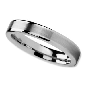 Unisex Wedding Band in 4mm with Brushed Center