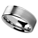 Unisex Wedding Band in 8mm with Brushed Center and High Polished Edges