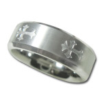 Unisex Wedding Band in 8mm with Satin Finish Center with Crosses