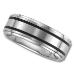 Unisex Wedding Band in 8mm with Double Black Channels