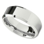 Unisex Wedding Band in 8mm with Flat Surface and Beveled Edges