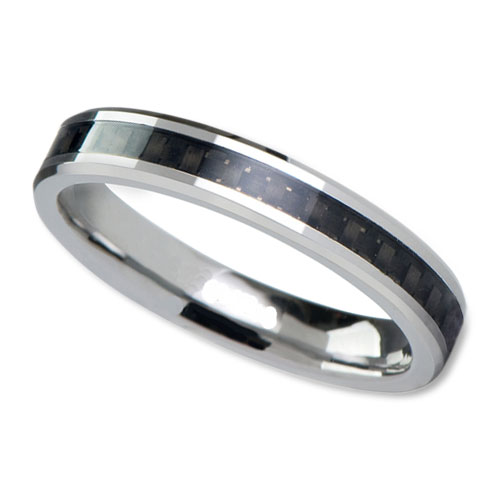 Womens White Tungsten Wedding Band in 4mm with Black Carbon Fiber