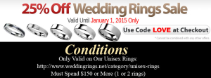 Take 25% Off Our Unisex Wedding Rings Until January 1, 2015