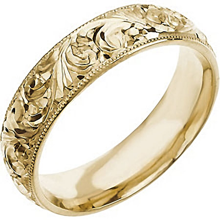 14K Yellow Gold Hand-Engraved Wedding Band