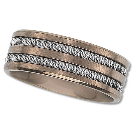 Womens Rose Colored Wedding Band with Cable Inlay