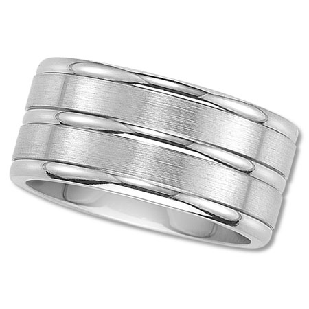 Mens Titanium Wedding Band with Three Rails and Bright Finish