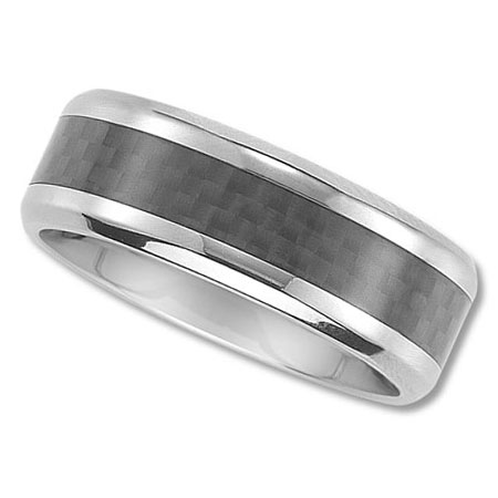 Unisex 8mm Wedding Ring with Black Carbon Fiber Inlay