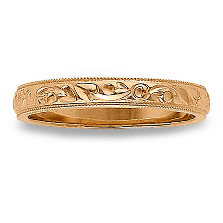 Womens Thin Antique Wedding Band with Milgrain Edges in 14K Rose Gold