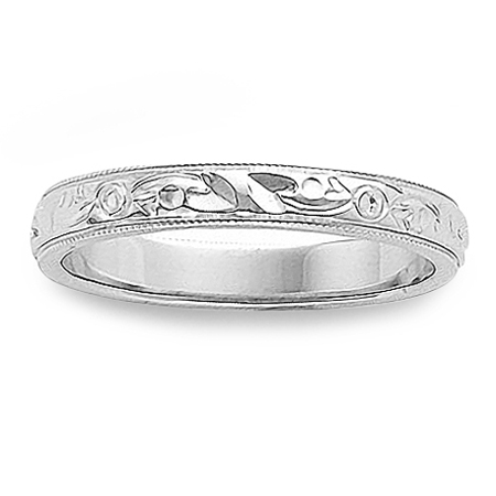 Milgrain Wedding Band.Womens Thin Antique Wedding Band With Milgrain Edges In 14k White Gold