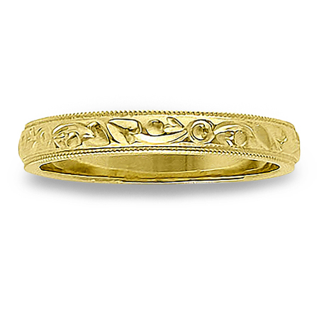 Womens Thin Antique Wedding Band with Milgrain Edges in 14K Yellow Gold