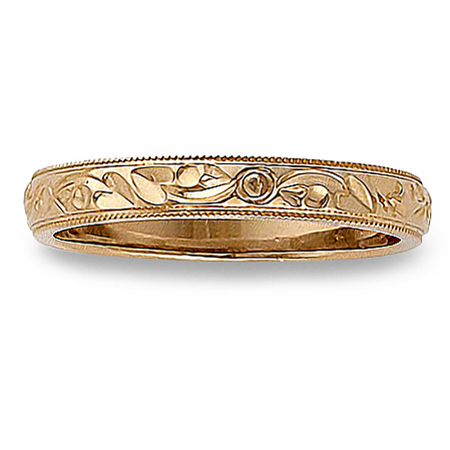 Womens Antique Floral Engraved Wedding Band in 14K Rose Gold