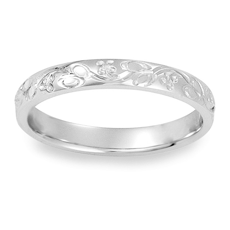 Womens Antique Floral Engraved Wedding Band in 14K White Gold