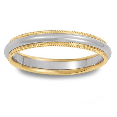 14K Gold Two-Tone Wedding Band With Milgrain Edges