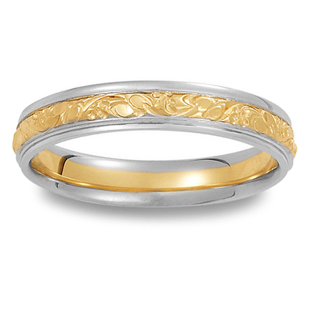 Womens Handmade 14K Two Tone Wedding Ring with Floral Center